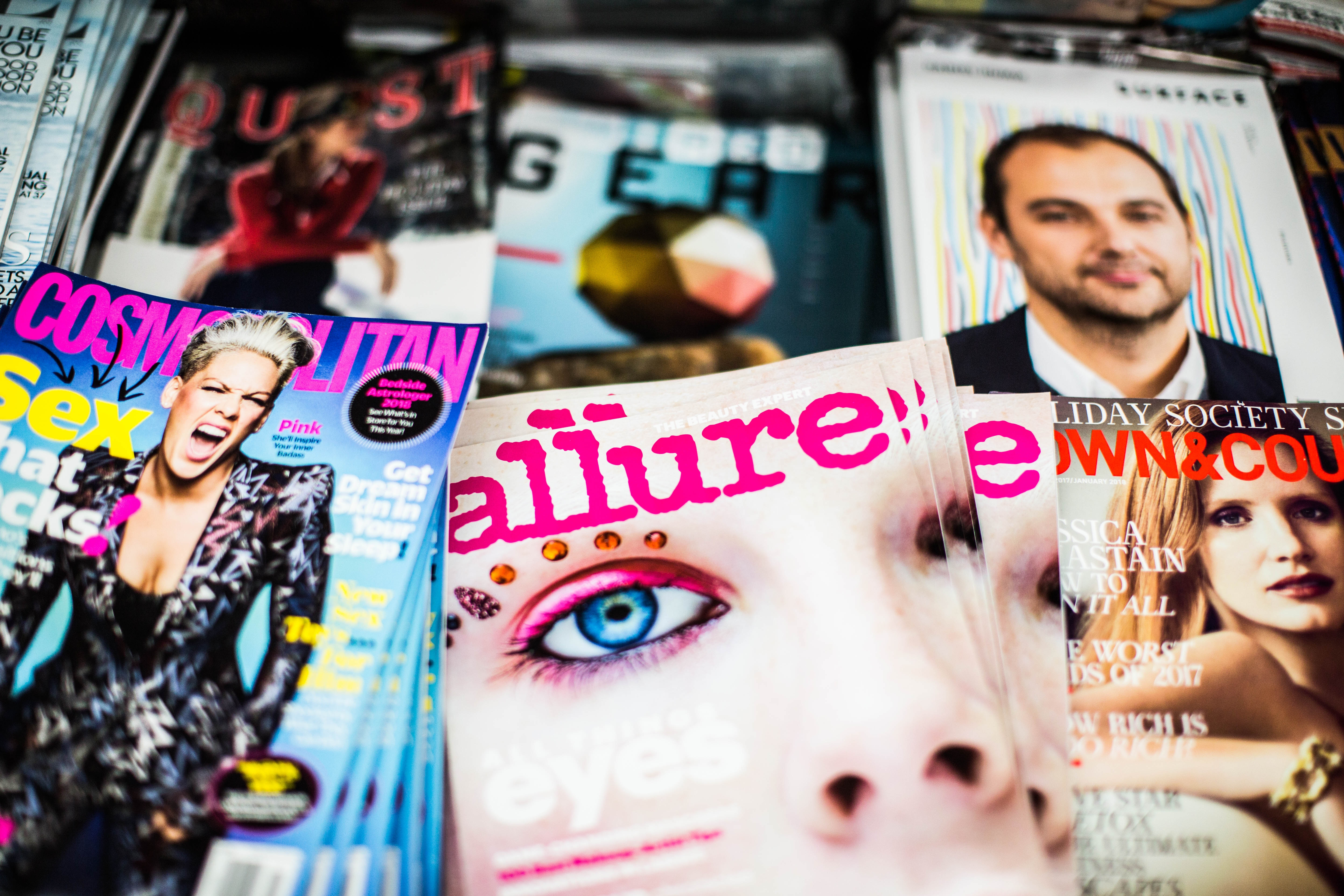 piles of magazines on beauty, fashion and latest trends