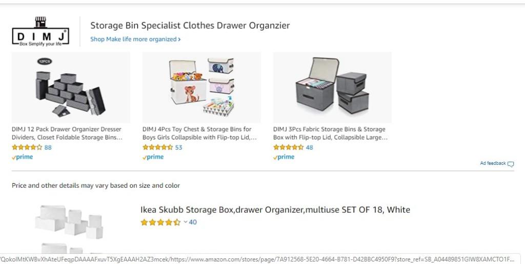 Even large brand names like IKEA has a spot on Amazon