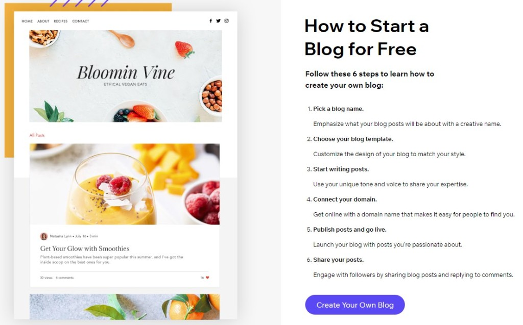 How to start a free blog on Wix with a customizable theme or template