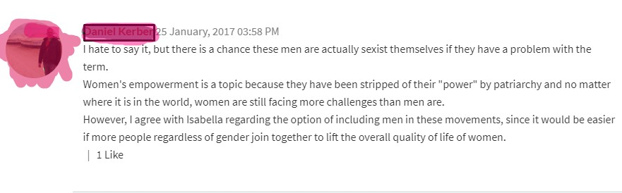 men have to be supportive of women movement, screencap