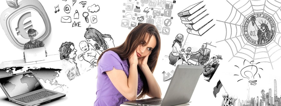 woman pondering over solutions and work