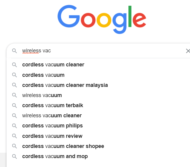 Google search bar with predictions